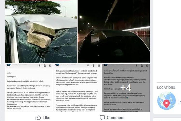 Pelemparan batu di Jalan Tol Jakarta-Cikampek