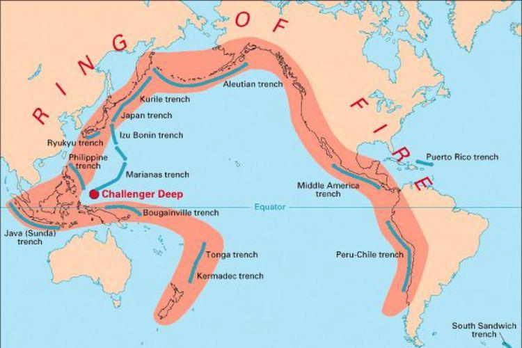 Gambaran Cincin Api Pasifik yang melingkari Indonesia