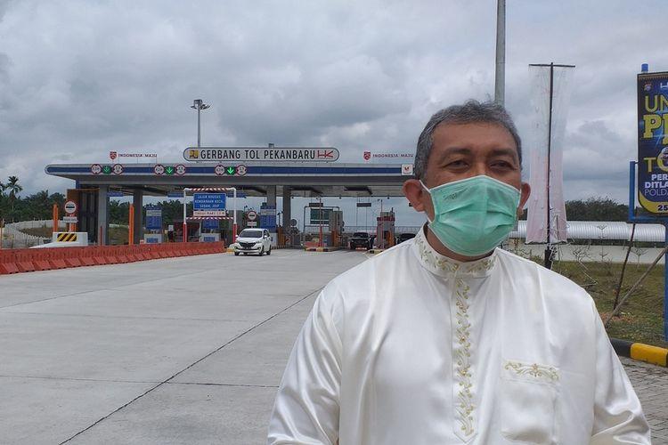 Branch Manager Tol Pekanbaru-Dumai, Indrajana saat diwawancarai Kompas.com terkait banyaknya kecelakaan lalu lintas di jalan tol Pekanbaru-Dumai, Provinsi Riau, Kamis (21/1/2021).