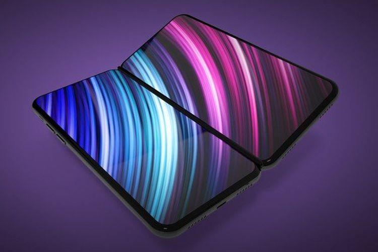 Ilustrasi prototip ponsel lipat Apple.