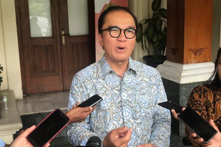 Duta Besar Indonesia untuk Selandia Baru Tantowi Yahya di kantor Kemenko Polhukan, Jakarta Pusat, Jumat (25/1/2019).