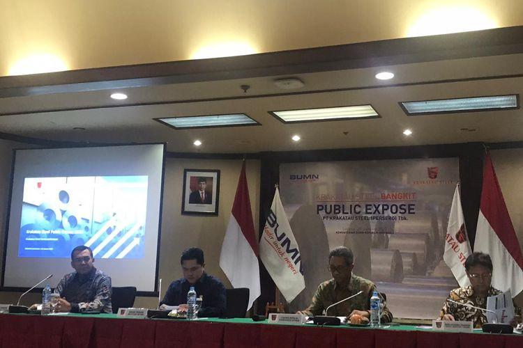 Konferensi pers soal restrukturisasi utang PT Krakatau Steel di Kementerian BUMN, Jakarta, Selasa (28/1/2020).