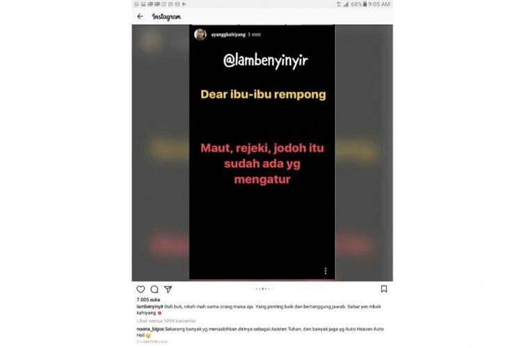 Snapgram kegeraman Kahiyang Ayu pada netizen yang menyindir rencana pernikahannya, viral dari akun gosip @lambenyinyir.