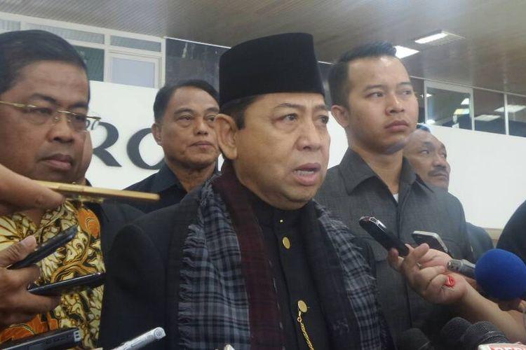 Ketua DPR RI Setya Novanto di Kompleks Parlemen, Senayan, Jakarta, Selasa (18/4/2017).