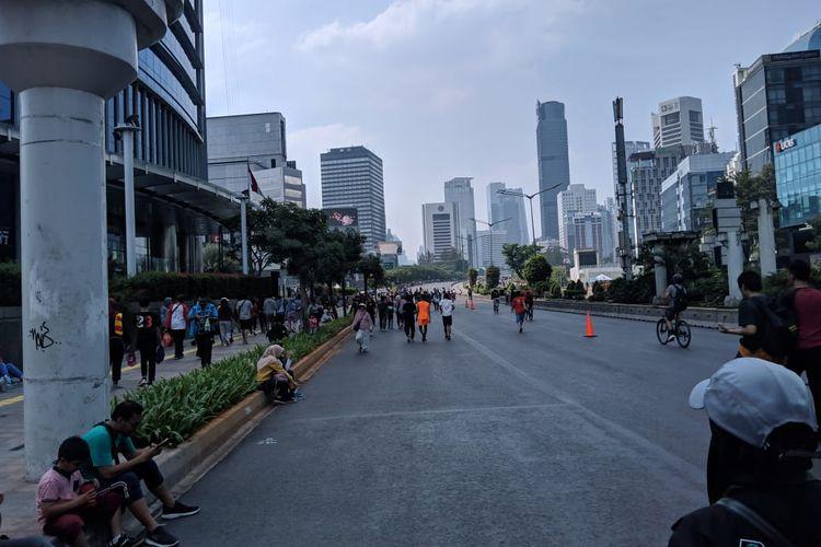 HBKB Jalan Sudirman-Thamrin yang sebelumnya ramai Pedagang Kaki Lima terlihat sepi, Minggu (24/11/2019)