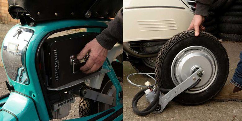 Paket konversi motor listrik untuk Vespa 2-tak dari Retrospective Scooters