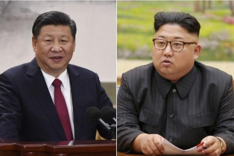 Presiden China Xi Jinping (kiri) telah membalas pesan yang dikirimkan Presiden Korea Utara Kim Jong Un (kanan).