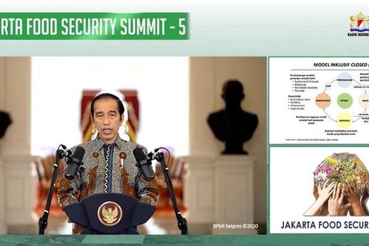 Presiden Jokowi saat membuka Jakarta Food Security Summit ke-5 di Jakarta, Rabu (18/11/2020).