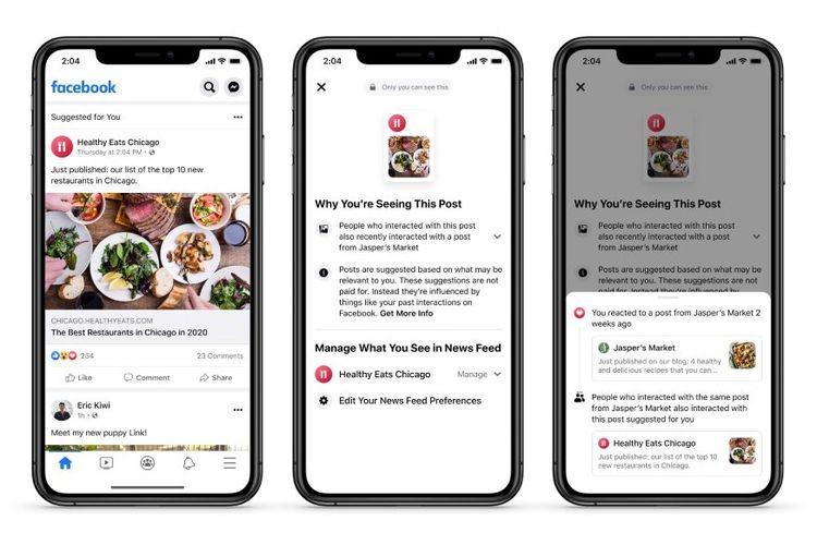 Facebook menyediakan konteks mengapa pengguna melihat postingan tertentu di News Feed miliknya.