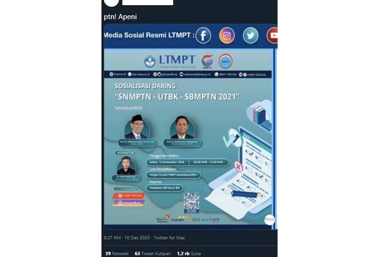 Tangkapan layar unggahan yang menampilkan poster sosialisasi dari Lembaga Tes Masuk Perguruan Tinggi (LTMPT).