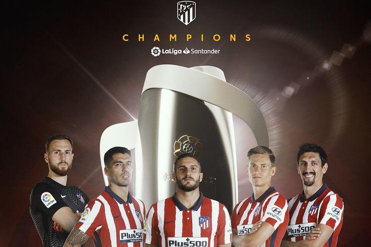 Lima pemain Atletico Madrid, Jan Oblak, Luis Suarez, Koke, Marcos Llorente dan Stefan Savic.