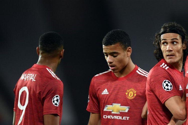 Lini depan Manchester United, Edinson Cavani, Mason Greenwood, dan Anthony Martial