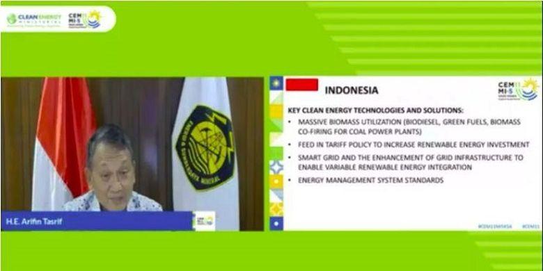 Menteri ESDM Arifin Tasrif, saat menghadiri The 11th CEM Meeting (CEM11) and The 5th Mission Innovation (MI-5) secara virtual, Selasa (22/9/2020).