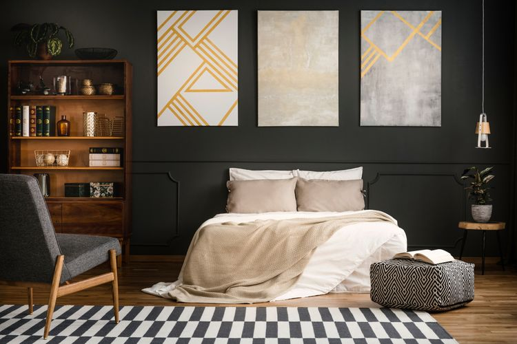 Ilustrasi kamar tidur dengan nuansa warna gelap.