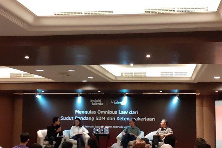 Diskusi Kebijakan Omnibus Law dari Sisi SDM dan Ketenagakerjaan di Jakarta, Senin (10/2/2020).