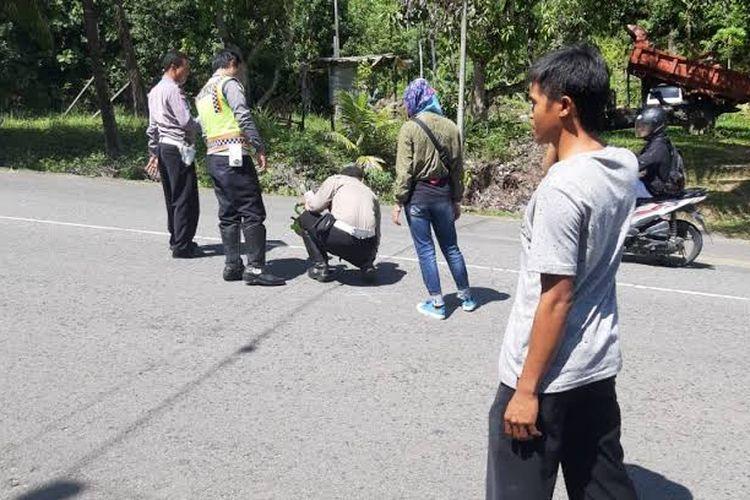 Satlantas Polres Nunukan lakukan reka ulang kasus laka lantas yang melibatkan anak SMK di Nunukan 2018 lalu