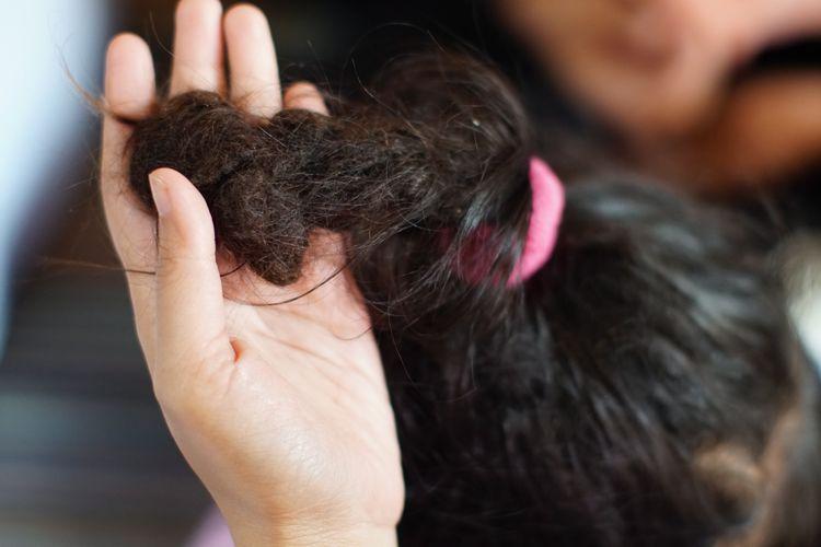 Salah satu anak yang akan menjalani pemotongan rambut gembel, Kayang Ayuningtiyas Nugroho (tengah), Menunjukkan rambut gembelnya di rumah Tua Adat Ki Sumanto, di kawasan Dieng, Jawa Tengah, Sabtu (3/8/2019).