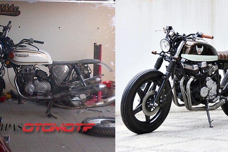 Honda CB 350 (kiri), Honda CB 750 (kanan). Pertahankan aura klasik meski tampak modern.