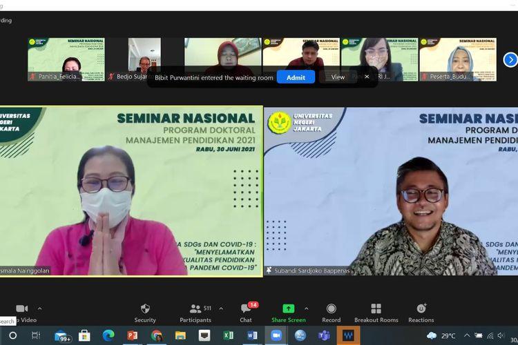 Program Doktoral Manajemen Pendidikan Pascasarjana Universitas Negeri Jakarta (UNJ) menggelar weninar nasional ?Antara SDGs dan Covid-19: Menyelamatkan Kualitas Pendidikan di Masa Pandemi Covid-19? pada 30 Juni 2021.