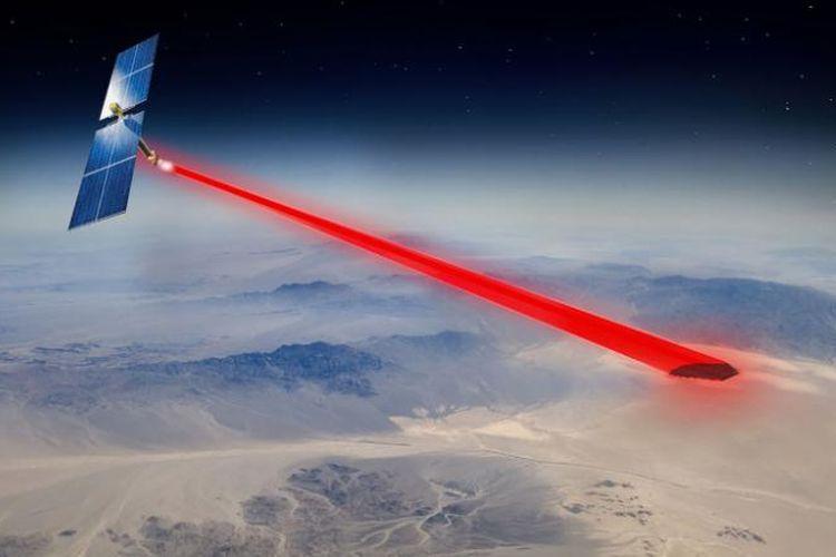 Ilustrasi PRAM menembakkan energi dari luar angkasa.