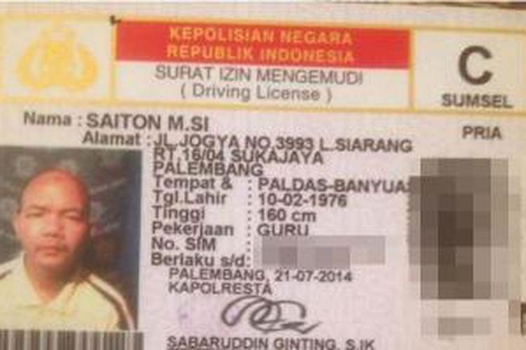 SIM milik Saiton yang menggegerkan dunia maya, Kamis (27/8/2015).