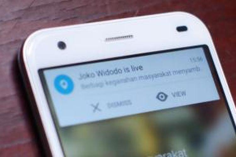 Notifikasi Periscope dari akun Presiden Republik Indonesia Joko Widodo