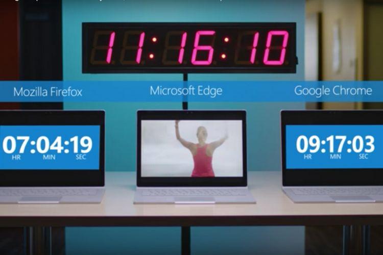 Potongan video pengujian efisiensi baterai tiga peramban oleh Microsoft.