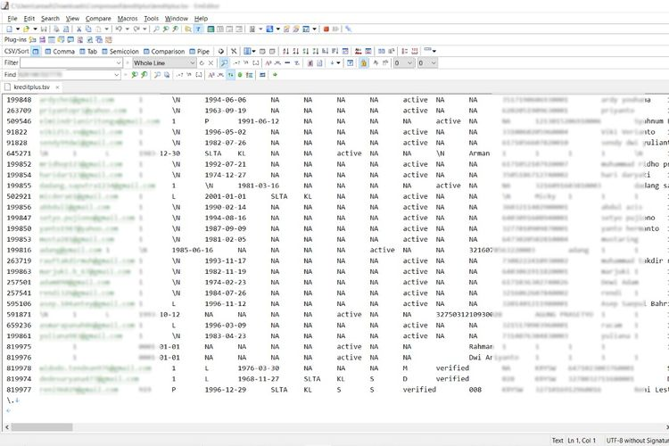 Ilustrasi data nasabah Kreditplus yang bocor dan bisa diakses.