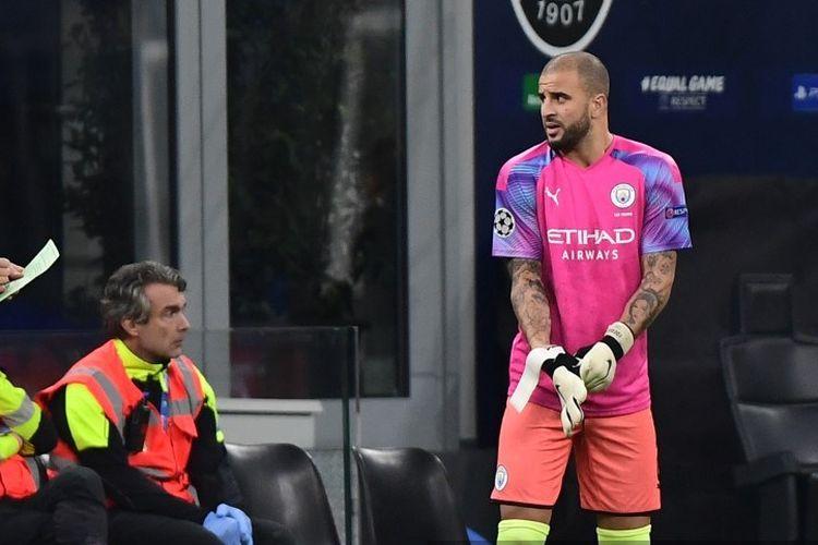 Bek Manchester City, Kyle Walker, menjadi kiper dadakan pada laga Atalanta vs Man City dalam lanjutan Liga Champions di San Siro, 6 November 2019.