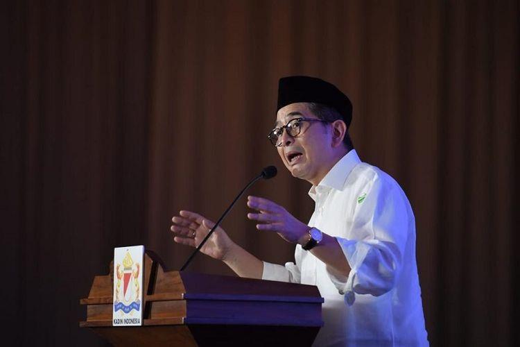 Asrjad Rasjid saat memberikan sambutan di acara buka bersama Kadin Banten