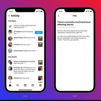 Fitur notifikasi Instagram yang akan memberi tahu pengguna jika layaann sedang ada gangguan atau tumbang. Fitur ini masih dalam tahap uji coba.