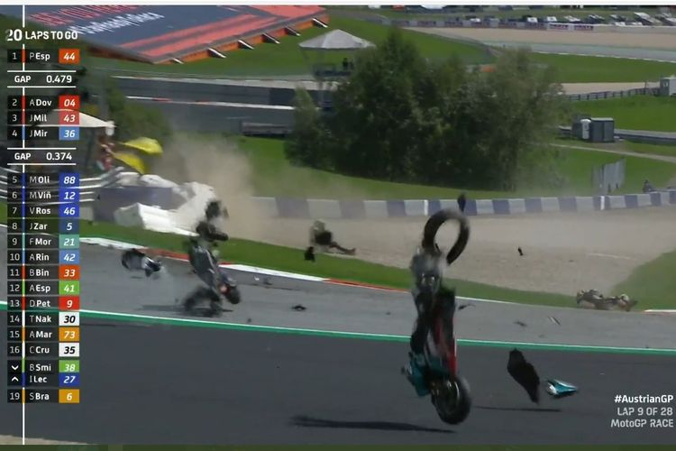 Kecelakaan pada MotoGP Austria 2020 yang melibatkan Johann Zarco dan Franco Morbidelli di tikungan 3 Sirkuit Red Bull Ring.