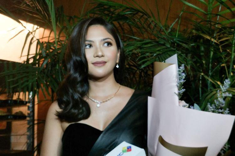 Artis peran Jessica Mila saat ditemui di gala premiere film Mata Batin 2 di Senayan City, Jakarta Pusat, Jumat (11/1/2019).