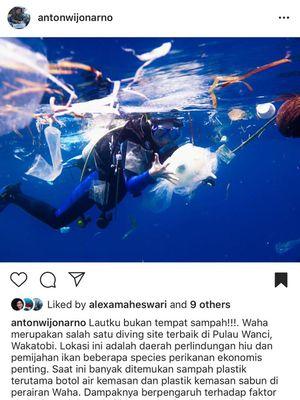 ?Kalau saya waktu dulu di wakatobi dari 2005 sampai 2009, menyelam hampir setiap hari, tidak banyak menemukan sampah. Tapi 5 bulan yang lalu saya di Wakatobi, saya menyelam dikelilingi sampah,? jelas Anton saat dihubungi melalui sambungan telepon pada Selasa (20/11/2018).