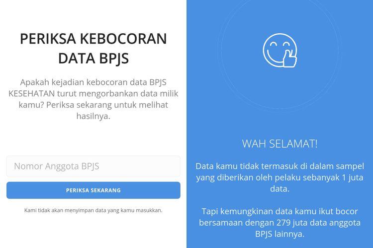 Ilustrasi situs web Periksadata.com yang bisa mengecek kebocoran data BPJS Kesehatan