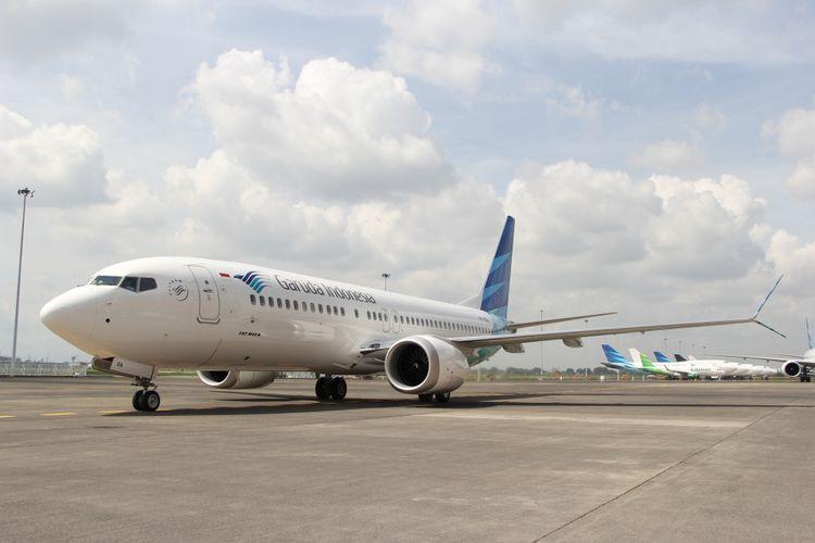 Pesawat Boeing 737 MAX 8 telah dioperasionalkan oleh Garuda Indonesia, di Bandara Soekarno-Hatta, Tangerang, Minggu (7/1/2018).