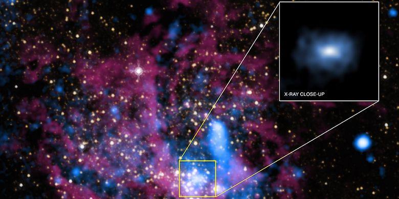 Lubang hitam supermasif, Sagitarius A* (Sgr A*) yang ditemukan NASA dengan teleskop Chandra X-ray Observatory.