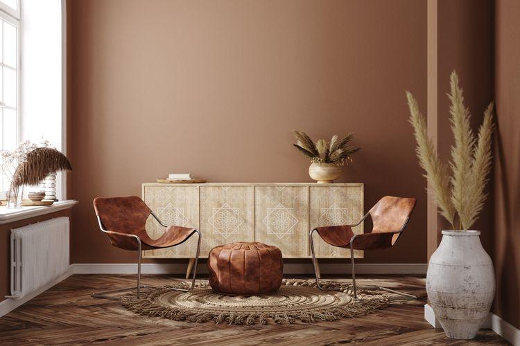 Ilustrasi desain interior ruangan berwarna terakota yang memberi kesan hangat.