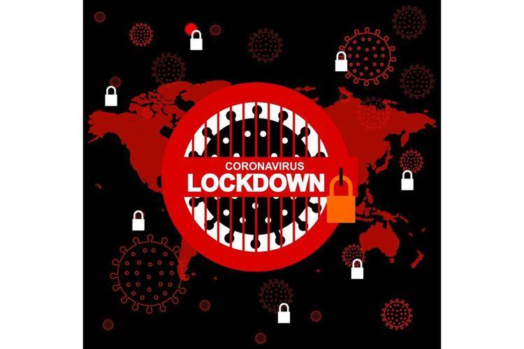 Ilustrasi lockdown, penguncian, virus corona