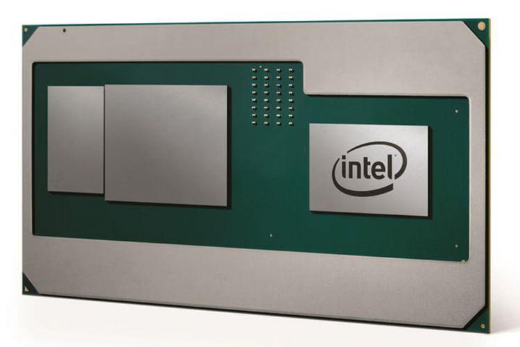 Ilustrasi kemasan prosesor Intel Core generasi ke-8 yang dilengkapi GPU Radeon bikinan AMD.