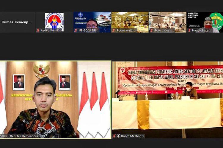 Rapat Koordinasi Strategis Lintas Sektor Pelayanan Kepemudaan yang diselenggarakan pada, Rabu (21/10/2020) di Jakarta. (Dok. Kemenpora)