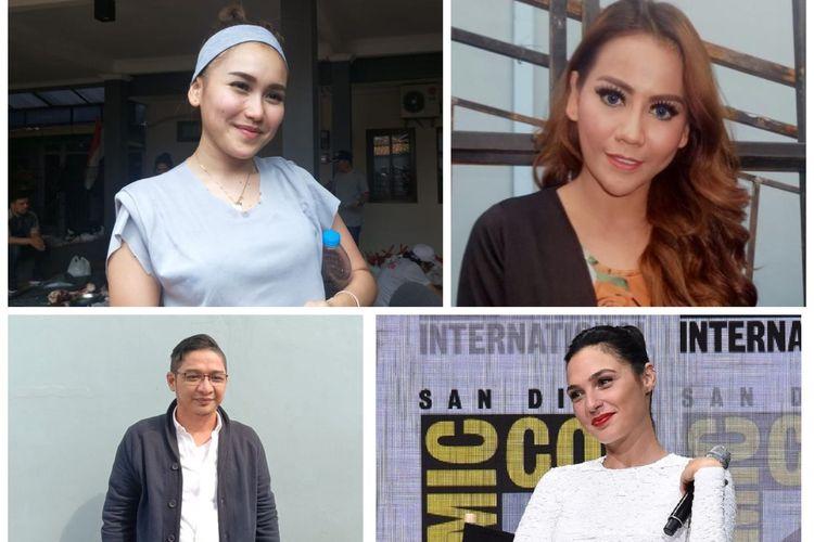 Kolase foto Ayu Ting Ting, Nita Thalia, Pasha Ungu dan Gal Gadot