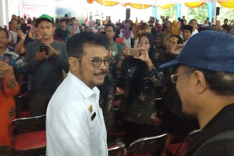 Menteri Pertanian, Syahrul Yasin Limpo di Desa Wonorejo, Kecamatan Jatiyoso, Karanganyar, Jateng, Rabu (12/2/2020).
