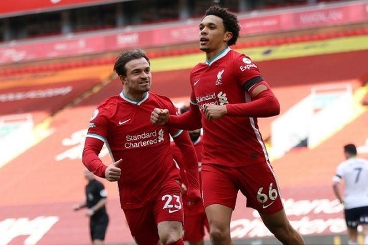Bek Liverpool, Trent Alexander-Arnold, merayakan gol ke gawang Aston Villa pada laga lanjutan pekan ke-31 Premier League di Stadion Anfield, Sabtu (10/4/2021) malam WIB.