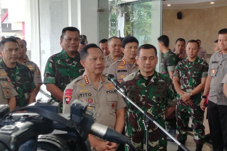 Kapolri Jenderal Polisi Tito Karnavian usai mengikuti rapat koordinasi nasional pengamanan Pemilu 2019, di Perguruan Tinggi Ilmu Kepolisian (PTIK), Jakarta, Kamis (13/9/2018)