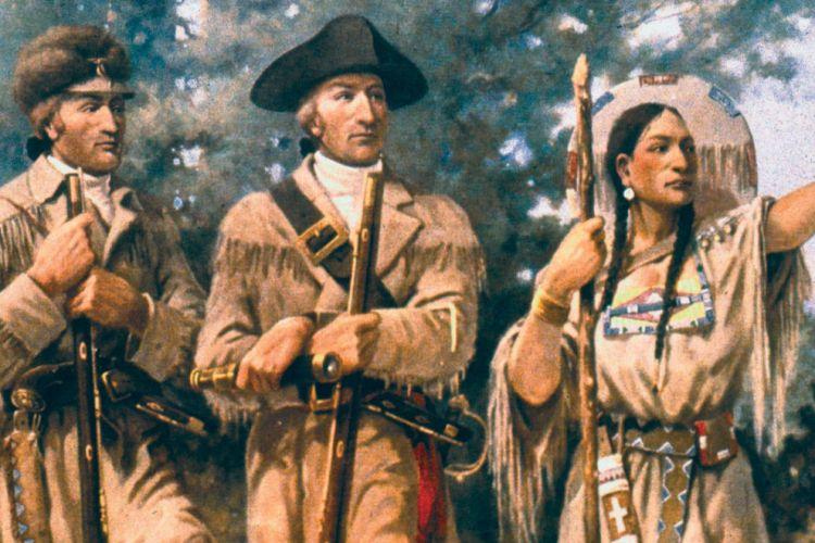 Sacagawea (paling kanan) ketika bersama Mertwether Lewsi (kiri) dan Wiliam Clark (tengah).