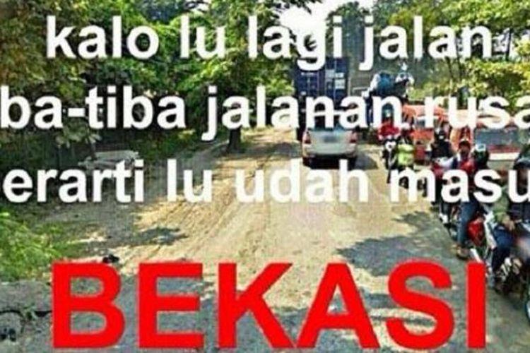 meme jalan rusak di Bekasi