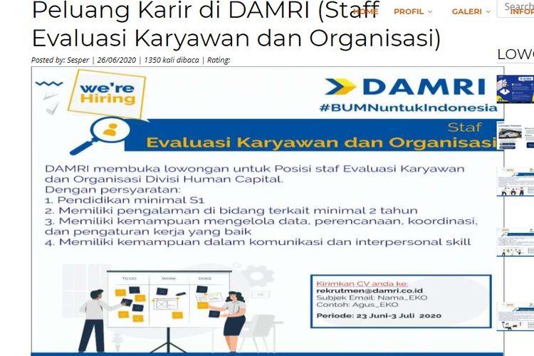 Lowongan kerja DAMRI 2020