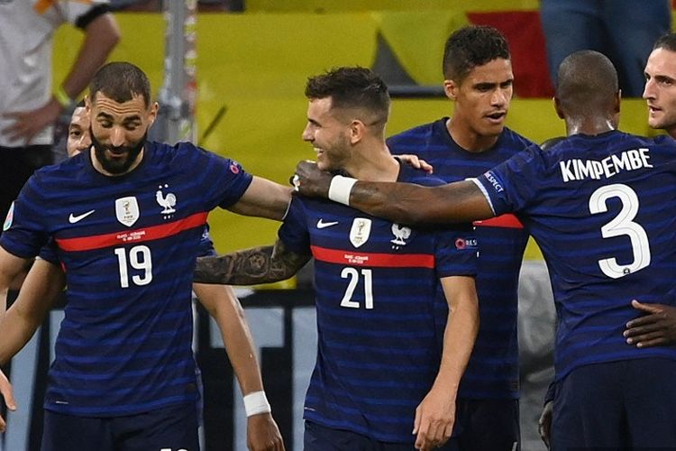 Para pemain Timnas Perancis merayakan gol ke gawang Timnas Jerman pada laga Grup F Euro 2020 pada Rabu (16/6/2021) dini hari WIB.