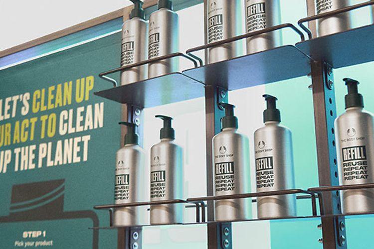 Botol aluminium kemasan isi ulang The Body Shop
